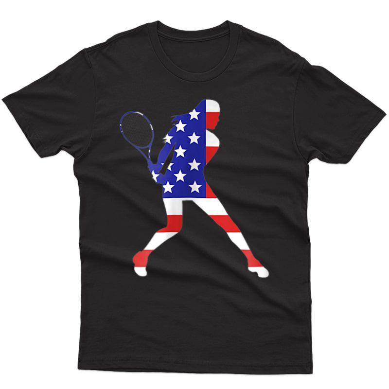 Patriotic American Us Flag Fourth July Tennis American T-shirt