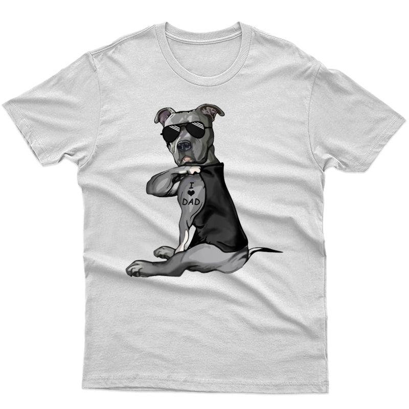 Pitbull Dog Tattoo I Love Dad - Father's Day T-shirt