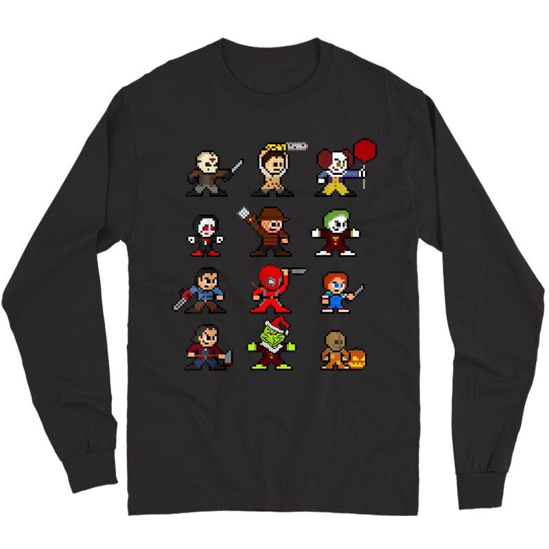 Pixel Halloween Scary Horror Christmas Gifts T-shirt Long Sleeve T-shirt