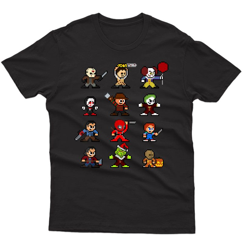 Pixel Halloween Scary Horror Christmas Gifts T-shirt