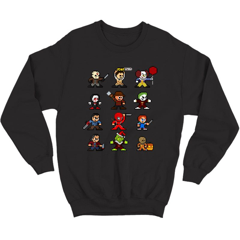 Pixel Halloween Scary Horror Christmas Gifts T-shirt Crewneck Sweater