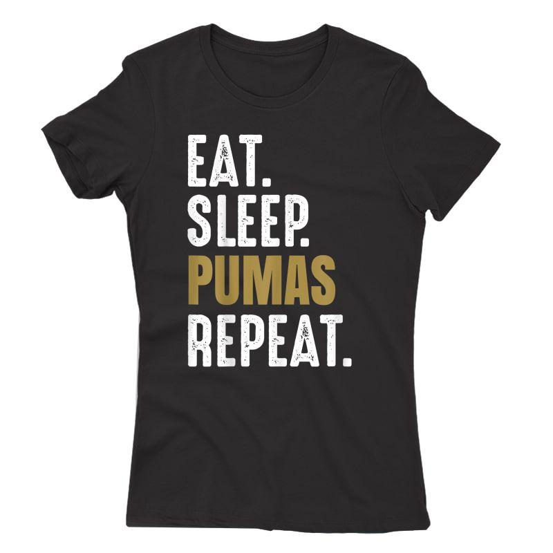 Pumas Soccer T-shirt Eat Sleep Repeat Soccer Football Mexico
