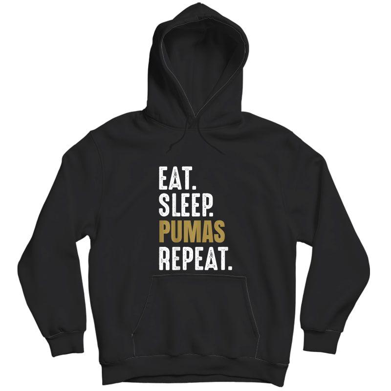 Pumas Soccer T-shirt Eat Sleep Repeat Soccer Football Mexico Unisex Pullover Hoodie