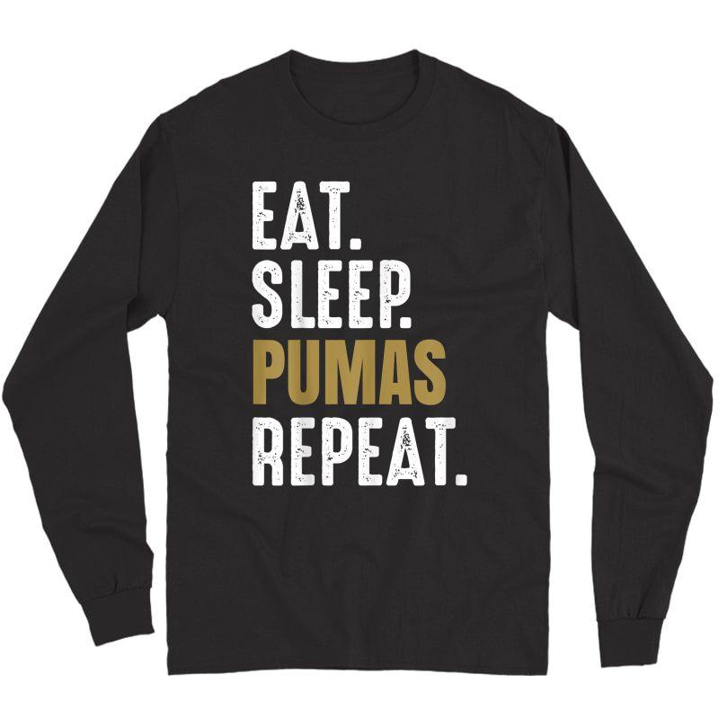 Pumas Soccer T-shirt Eat Sleep Repeat Soccer Football Mexico Long Sleeve T-shirt