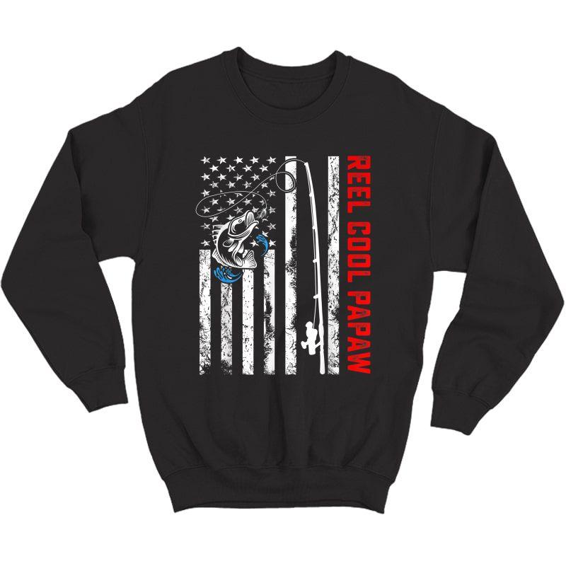 Reel Cool Papaw Shirt American Flag Fishing Birthday Gifts Crewneck Sweater