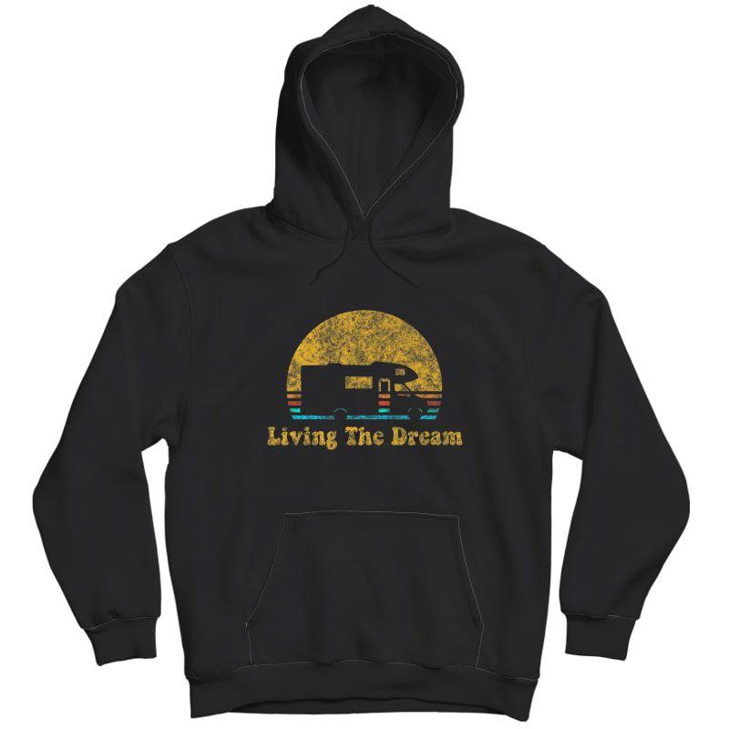 Retro Sunset Rv Living The Dream Camping Gift Premium T-shirt Unisex Pullover Hoodie