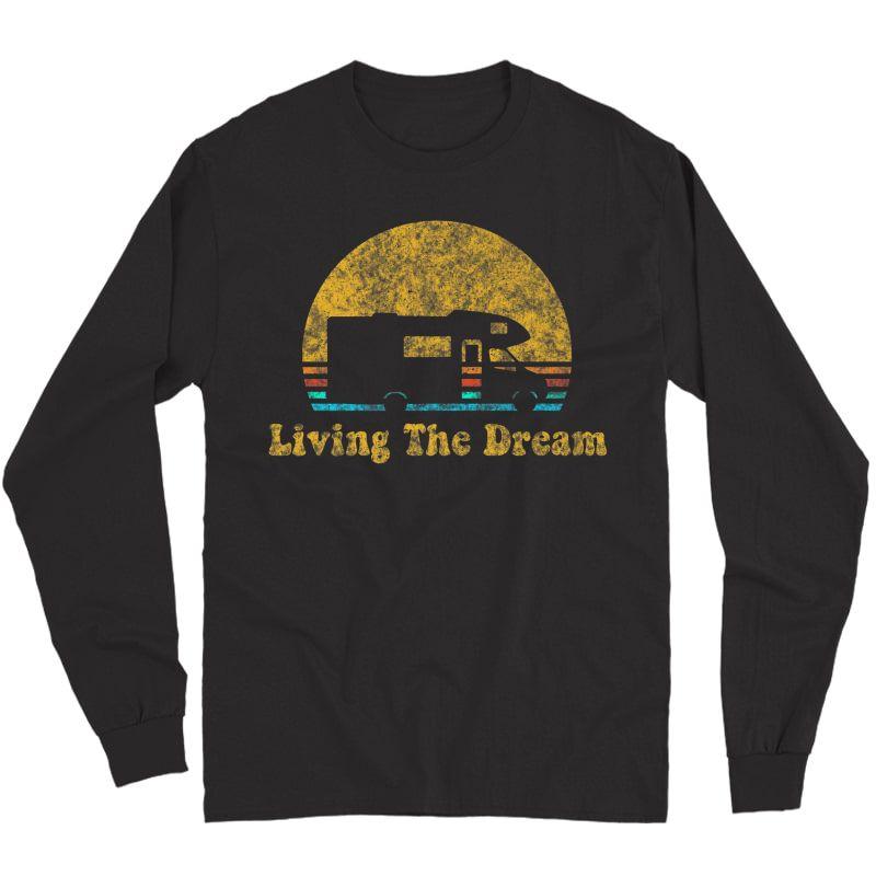 Retro Sunset Rv Living The Dream Camping Gift Premium T-shirt Long Sleeve T-shirt