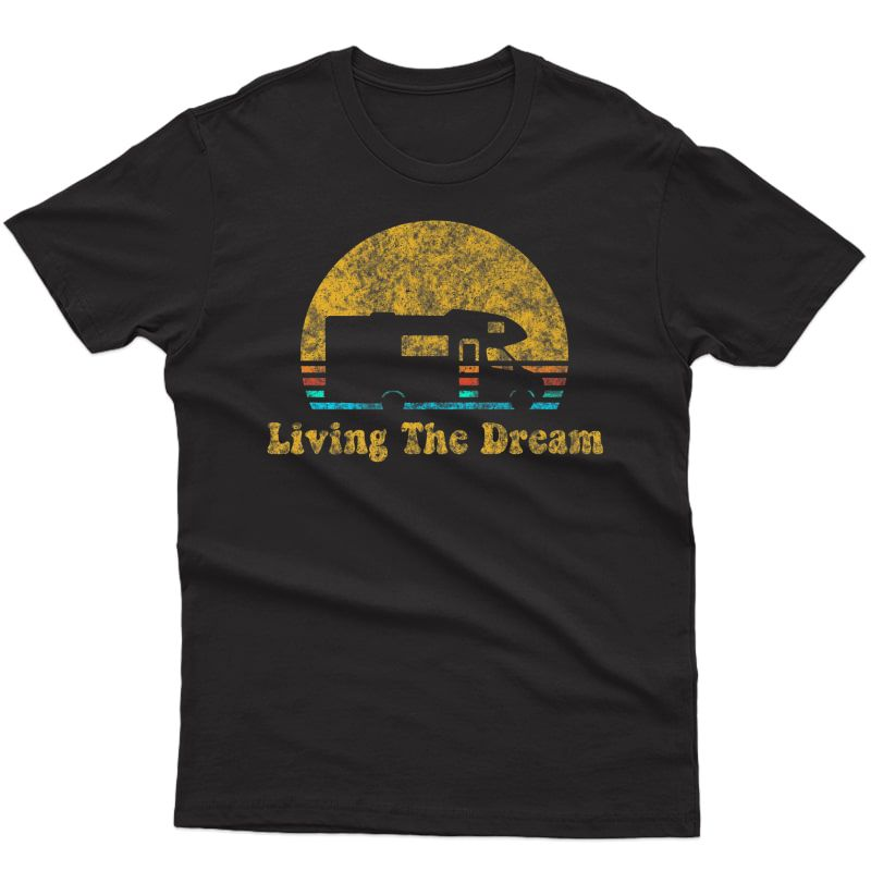 Retro Sunset Rv Living The Dream Camping Gift Premium T-shirt