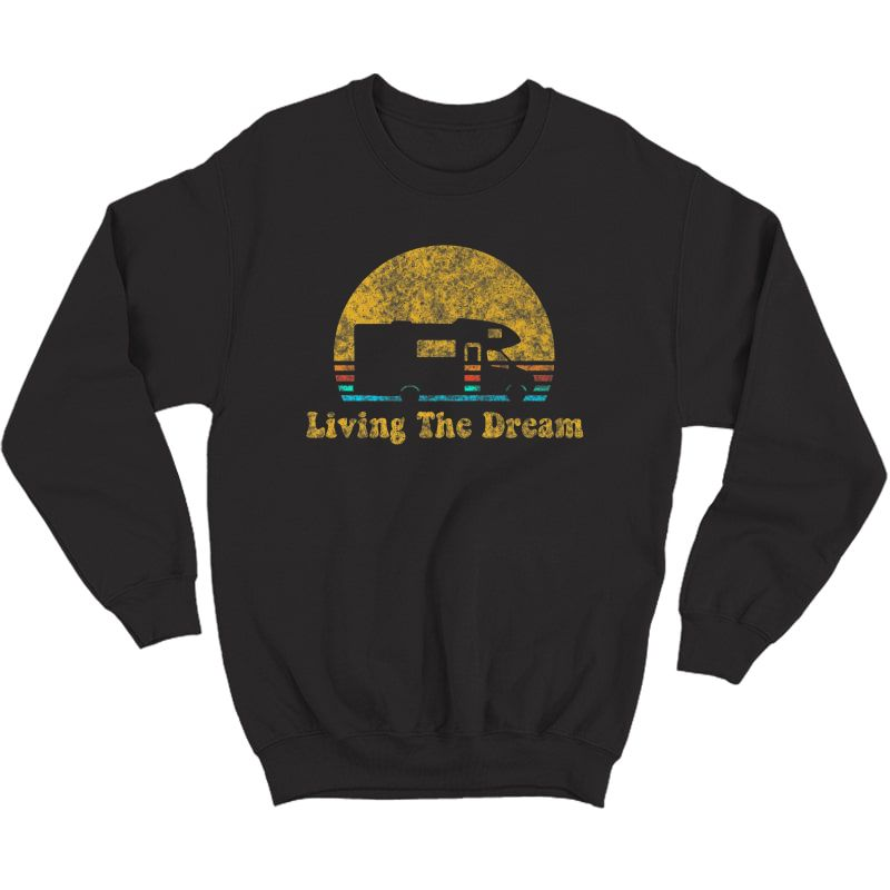 Retro Sunset Rv Living The Dream Camping Gift Premium T-shirt Crewneck Sweater