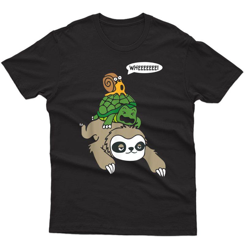 Sloth Turtle Snail Piggyback T Shirt Animal Running Wild Tee