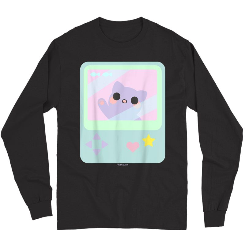 Super Kawaii Gamer Cat Kitty Pastel Anime Inspired T-shirt Long Sleeve T-shirt