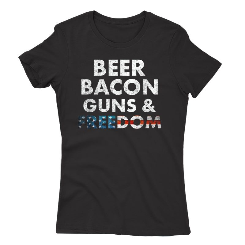 Vintage Beer Bacon Guns Freedom T-shirt Funny 4th Of July T-shirt