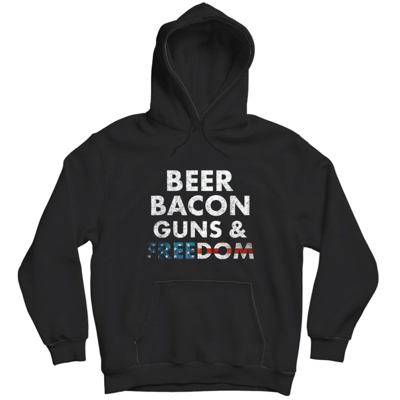 Vintage Beer Bacon Guns Freedom T-shirt Funny 4th Of July T-shirt Unisex Pullover Hoodie