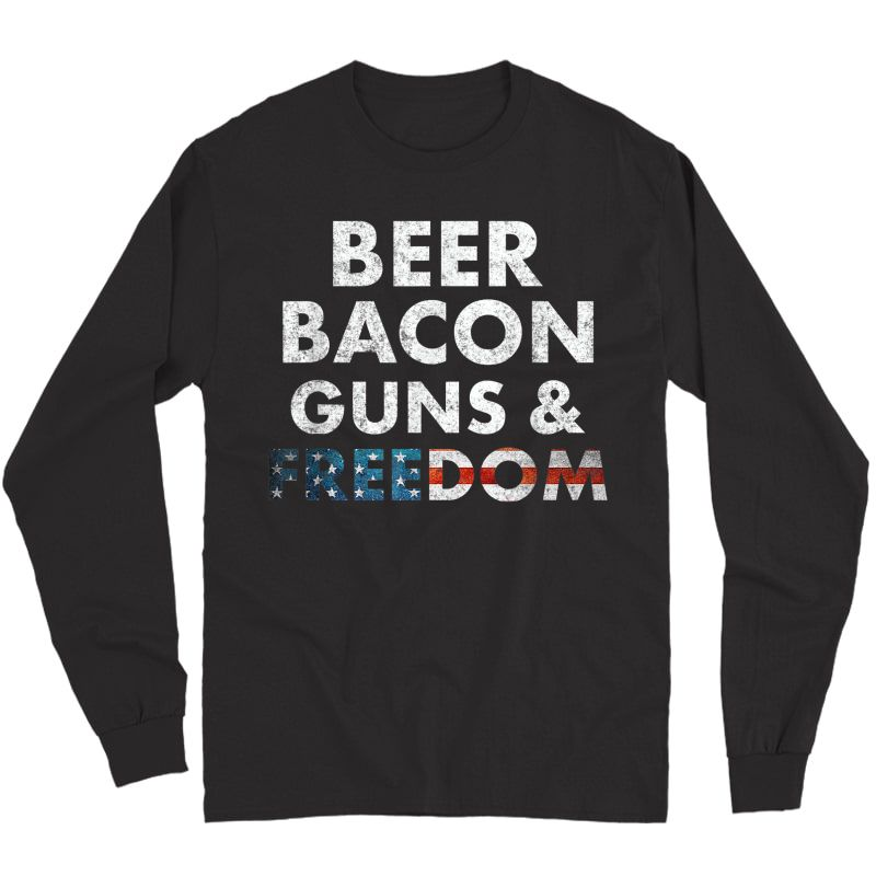 Vintage Beer Bacon Guns Freedom T-shirt Funny 4th Of July T-shirt Long Sleeve T-shirt