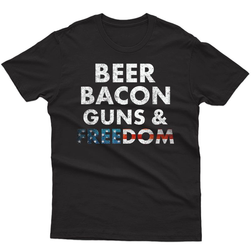 Vintage Beer Bacon Guns Freedom T-shirt Funny 4th Of July T-shirt Men Short Sleeve