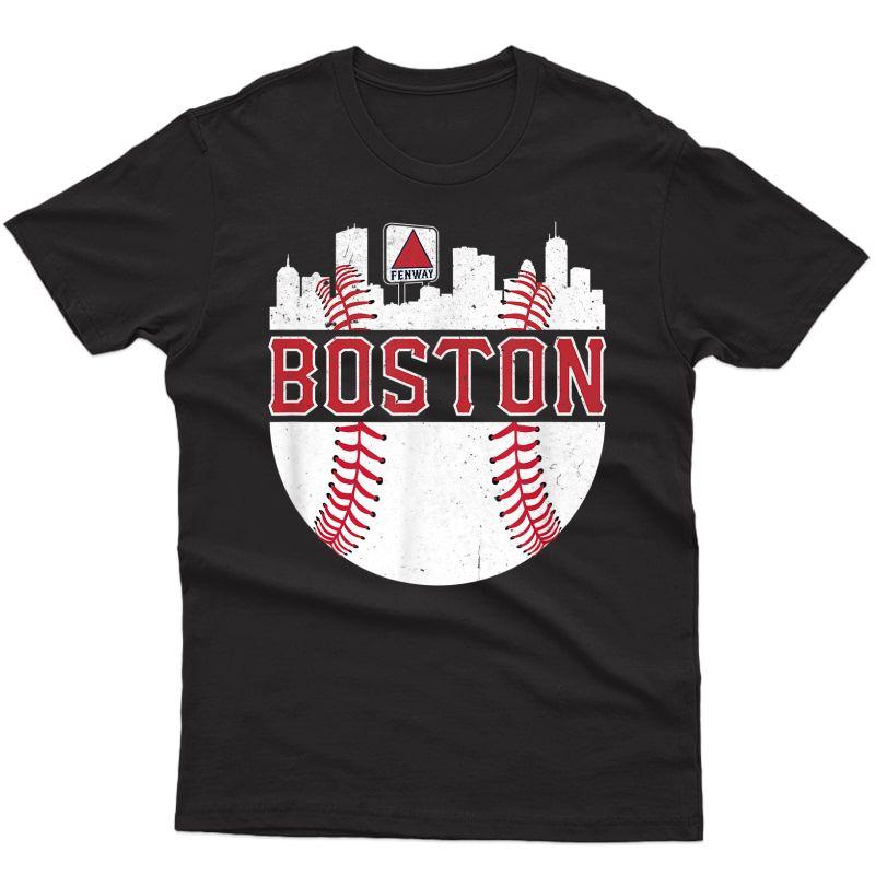 Vintage Boston Baseball Skyline Massachusetts Retro Fan Gift T-shirt