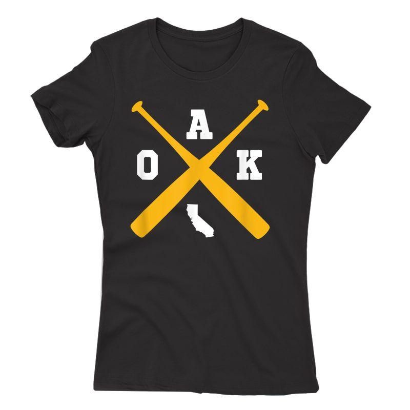 Vintage Oakland Baseball Bats Oak State Outline T-shirt