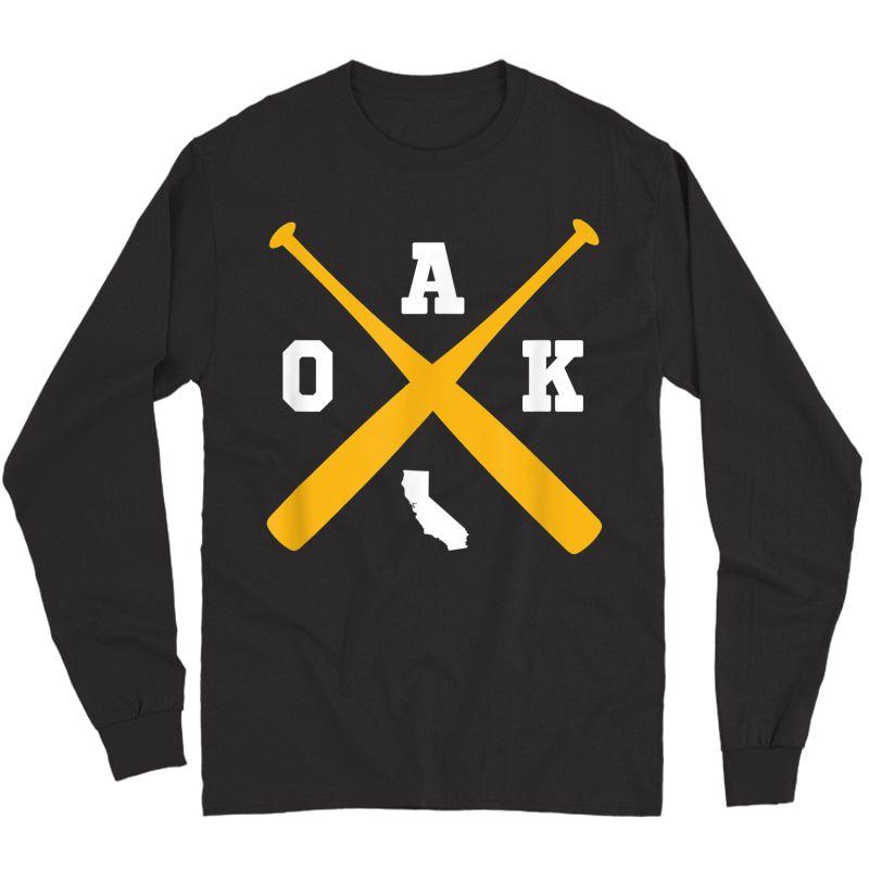 Vintage Oakland Baseball Bats Oak State Outline T-shirt Long Sleeve T-shirt
