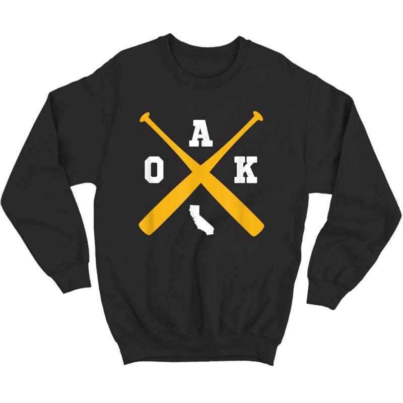 Vintage Oakland Baseball Bats Oak State Outline T-shirt Crewneck Sweater