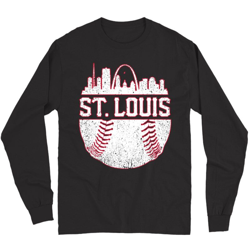 Vintage St. Louis Baseball Skyline Cardinal Retro Gift Pullover Shirts Long Sleeve T-shirt