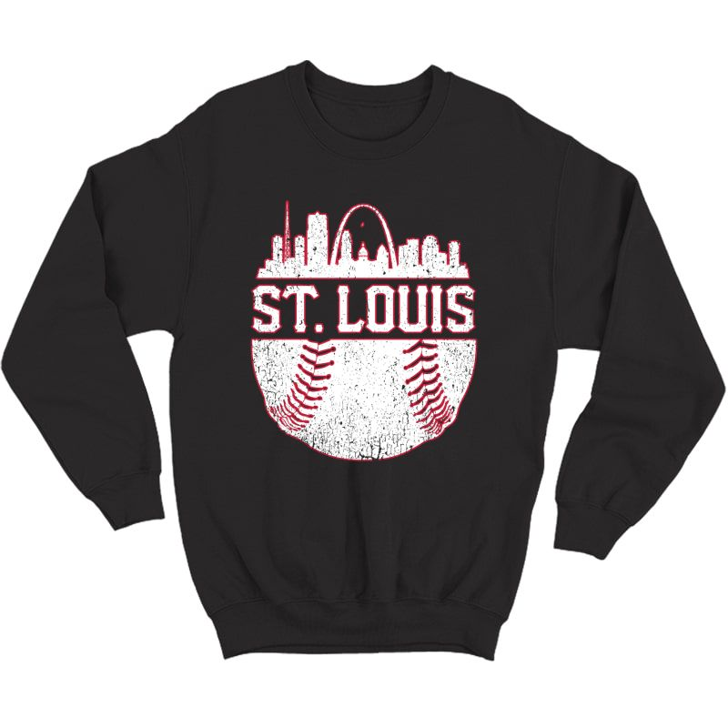 Vintage St. Louis Baseball Skyline Cardinal Retro Gift Pullover Shirts Crewneck Sweater