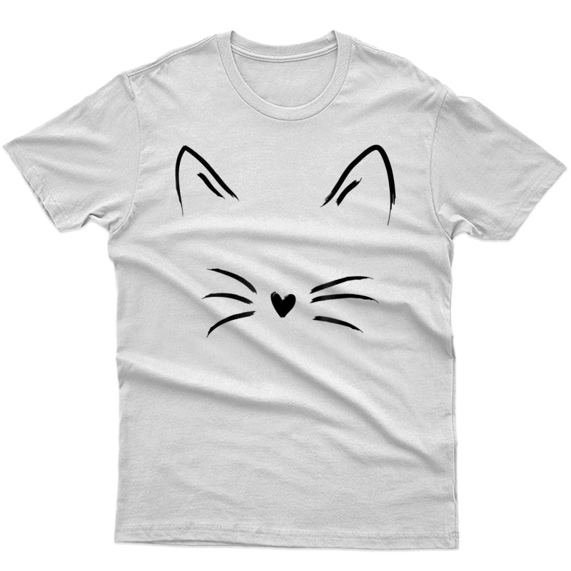 Cat Face Whiskers Print Tee Kitty Lover T-shirt