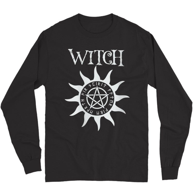 Witch Pentacle Pagan Wiccan Halloween Graphic T-shirt Long Sleeve T-shirt